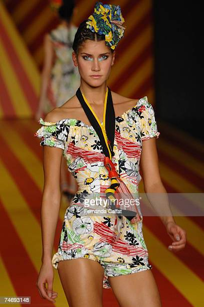 A model walks the runway at the Movimento Summer 2008 show during the Sao Paulo Fashion Week on June 17 2007 Sao Paulo Brazil