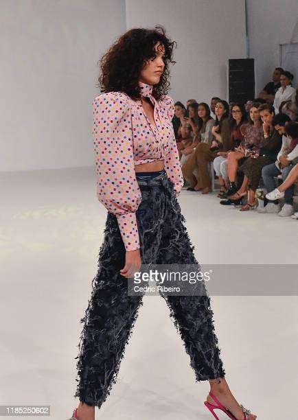 A model walks the runway at the Mrs Keepa show during the FFWD October Edition 2019 at the Dubai Design District on November 02 2019 in Dubai United...