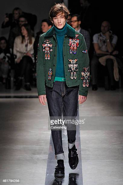 A model walks the runway at the MSGM Autumn Winter 2015 fashion show during Milan Menswear Fashion Week on January 19 2015 in Milan Italy