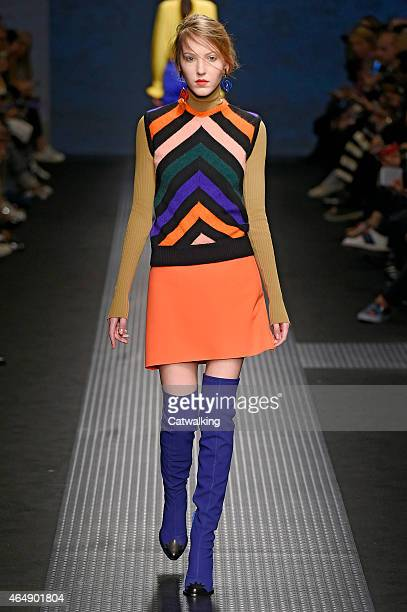 A model walks the runway at the MSGM Autumn Winter 2015 fashion show during Milan Fashion Week on March 1 2015 in Milan Italy