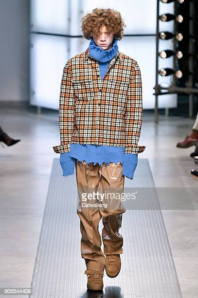 Model walks the runway at the MSGM Autumn Winter 2016 fashion show during Milan Menswear Fashion Week on January 18, 2016 in Milan, Italy.