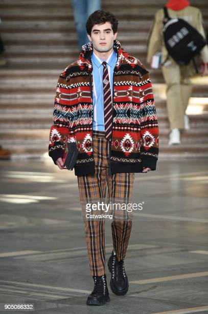 Model walks the runway at the MSGM Autumn Winter 2018 fashion show during Milan Menswear Fashion Week on January 14, 2018 in Milan, Italy.