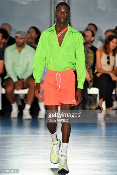 A model walks the runway at the MSGM fashion show during Milan Men's Fashion Week Spring/Summer 2019 on June 17 2018 in Milan Italy