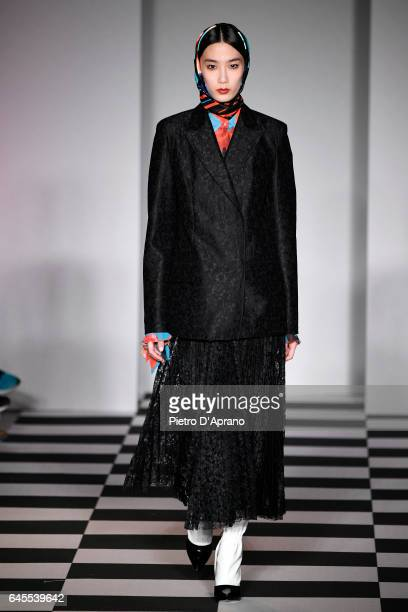 Model walks the runway at the MSGM show during Milan Fashion Week Fall/Winter 2017/18 on February 26, 2017 in Milan, Italy.