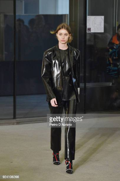 A model walks the runway at the MSGM show during Milan Fashion Week Fall/Winter 2018/19 on February 25 2018 in Milan Italy