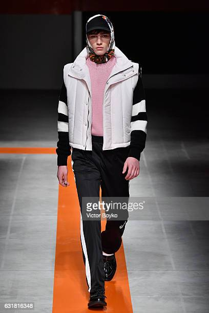 A model walks the runway at the MSGM show during Milan Men's Fashion Week Fall/Winter 2017/18 on January 16 2017 in Milan Italy