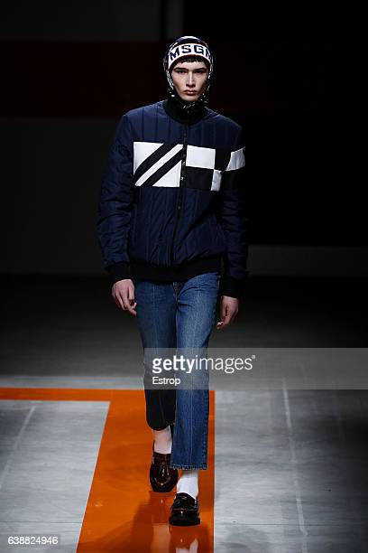 Model walks the runway at the MSGM show during Milan Men's Fashion Week Fall/Winter 2017/18 on January 16, 2017 in Milan, Italy.