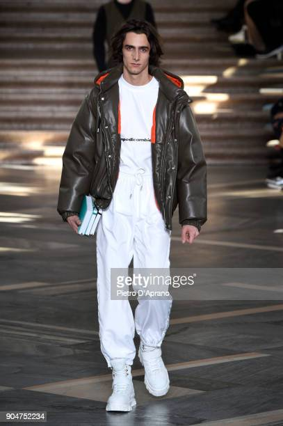 A model walks the runway at the MSGM show during Milan Men's Fashion Week Fall/Winter 2018/19 on January 14 2018 in Milan Italy