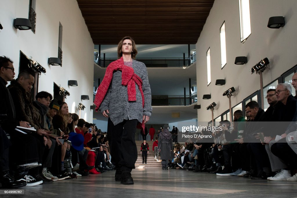 A model walks the runway at the MSGM show during Milan Men's Fashion Week Fall/Winter 2018/19 on January 14, 2018 in Milan, Italy.