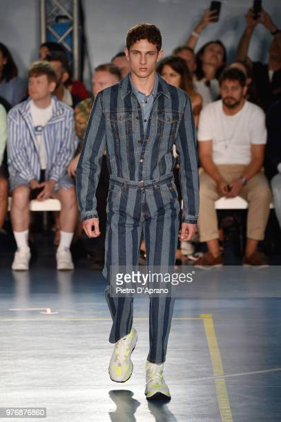 Model walks the runway at the MSGM show during Milan Men's Fashion Week Spring/Summer 2019 on June 17, 2018 in Milan, Italy.