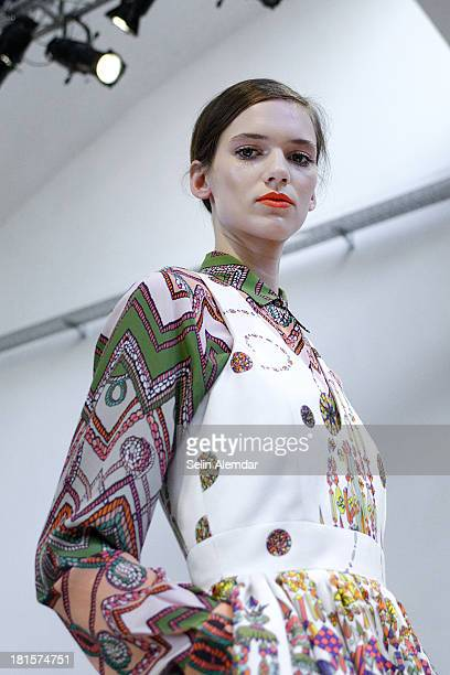 Model walks the runway at the MSGM Spring Summer 2014 fashion show during Milan Fashion Week on September 22, 2013 in Milan, Italy.