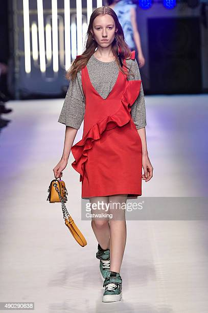 Model walks the runway at the MSGM Spring Summer 2016 fashion show during Milan Fashion Week on September 27, 2015 in Milan, Italy.