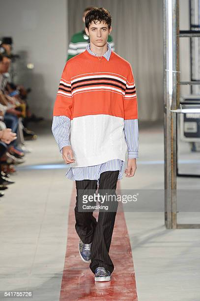 A model walks the runway at the MSGM Spring Summer 2017 fashion show during Milan Menswear Fashion Week on June 20 2016 in Milan Italy