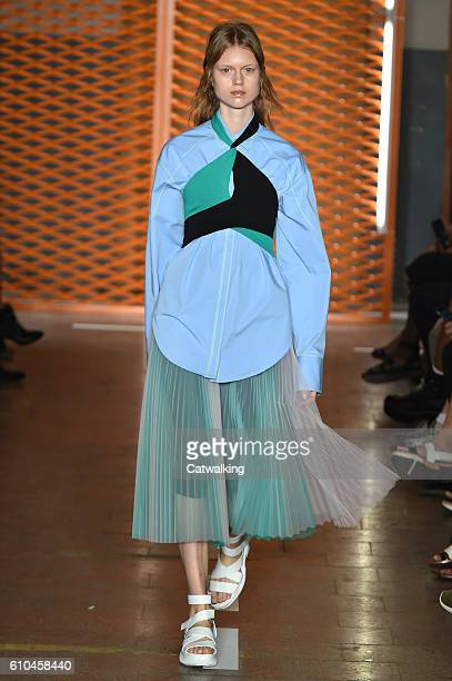 A model walks the runway at the MSGM Spring Summer 2017 fashion show during Milan Fashion Week on September 25 2016 in Milan Italy