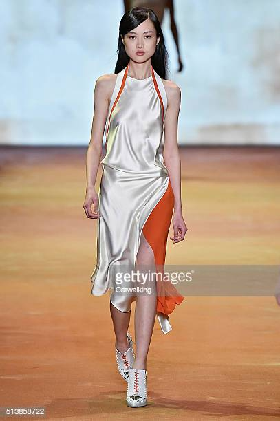 A model walks the runway at the Mugler Autumn Winter 2016 fashion show during Paris Fashion Week on March 5 2016 in Paris France