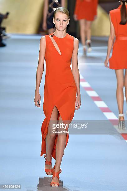 A model walks the runway at the Mugler Spring Summer 2016 fashion show during Paris Fashion Week on October 3 2015 in Paris France