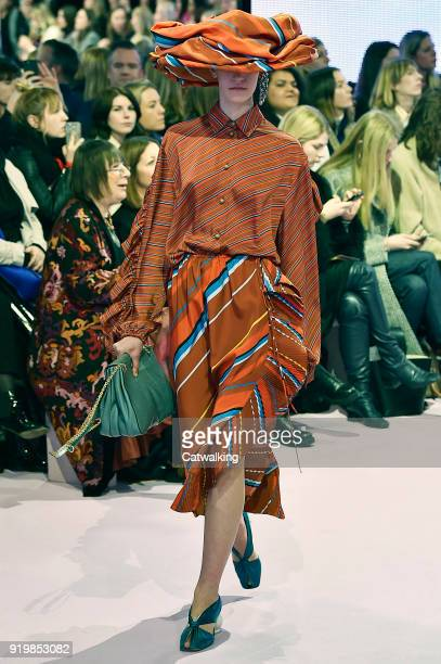 A model walks the runway at the Mulberry Autumn Winter 2018 fashion show during London Fashion Week on February 16 2018 in London United Kingdom