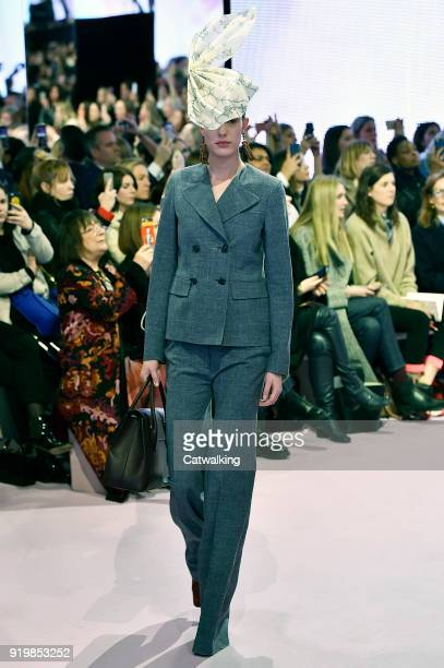 Model walks the runway at the Mulberry Autumn Winter 2018 fashion show during London Fashion Week on February 16, 2018 in London, United Kingdom.