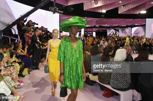 Model walks the runway at the Mulberry 'Beyond Heritage' SS18 Presentation during London Fashion Week February 2018 at Spencer House on February 16,...
