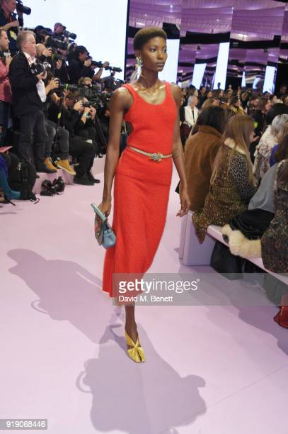 A model walks the runway at the Mulberry 'Beyond Heritage' SS18 Presentation during London Fashion Week February 2018 at Spencer House on February 16...