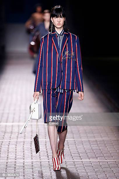 A model walks the runway at the Mulberry designed by Jonny Cota show during London Fashion Week Spring/Summer collections 2017 on September 18 2016...