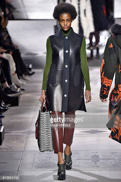 A model walks the runway at the Mulberry fashion show during London Fashion Week Autumn/Winter 2016/2017 on February 21 2016 in London England