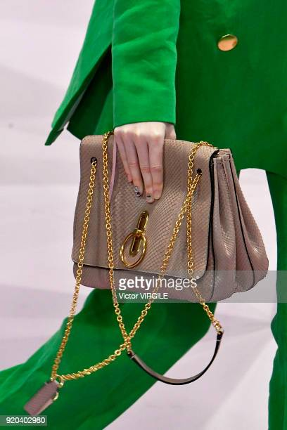 A model walks the runway at the Mulberry Ready to WEar Fall/Winter 20182019 fashion show during London Fashion Week February 2018 on February 16 2018...
