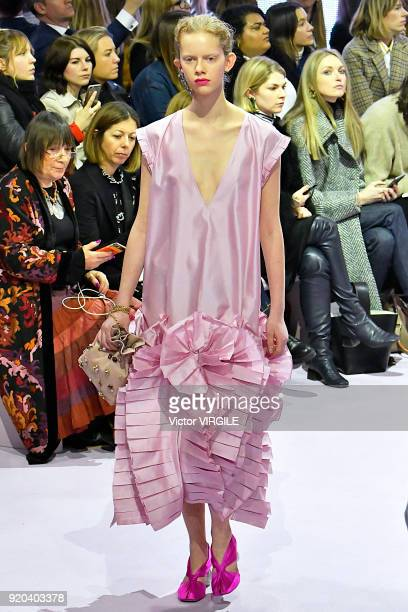 Model walks the runway at the Mulberry Ready to WEar Fall/Winter 2018-2019 fashion show during London Fashion Week February 2018 on February 16, 2018...