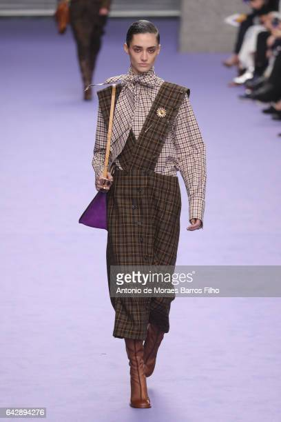 A model walks the runway at the Mulberry show during the London Fashion Week February 2017 collections on February 19 2017 in London England