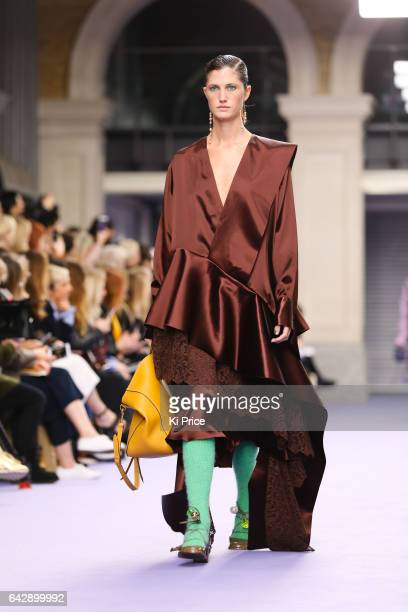 Model walks the runway at the Mulberry show during the London Fashion Week February 2017 collections on February 19, 2017 in London, England.
