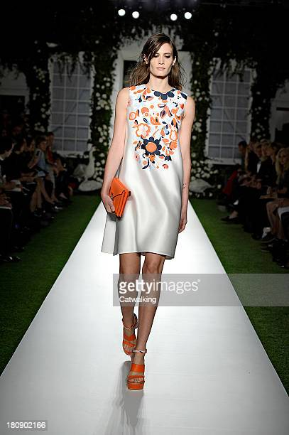 A model walks the runway at the Mulberry Spring Summer 2014 fashion show during London Fashion Week on September 15 2013 in London United Kingdom