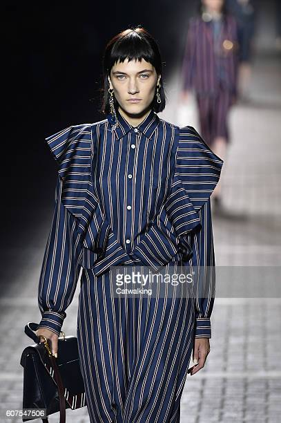 A model walks the runway at the Mulberry Spring Summer 2017 fashion show during London Fashion Week on September 18 2016 in London United Kingdom