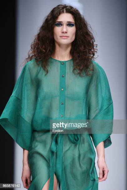 A model walks the runway at the N LEGENDA fashion show during day four of Mercedes Benz Fashion Week Russia S/S 2018 at Manege on October 24 2017 in...