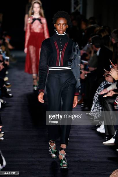 A model walks the runway at the N21 designed by Alessandro Dell'Acqua show during Milan Fashion Week Fall/Winter 2017/18 on February 22 2017 in Milan...