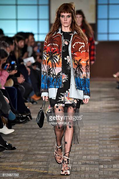A model walks the runway at the N21 fashion show during Milan Fashion Week Fall/Winter 2016/2017 on February 24 2016 in Milan Italy