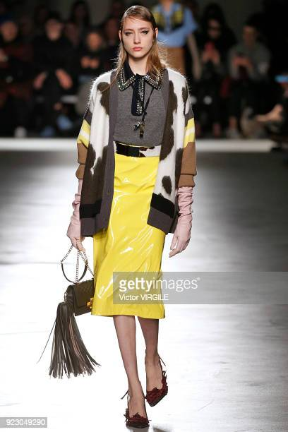 A model walks the runway at the N21 Ready to Wear Fall/Winter 20182019 fashion show during Milan Fashion Week Fall/Winter 2018/19 on February 21 2018...