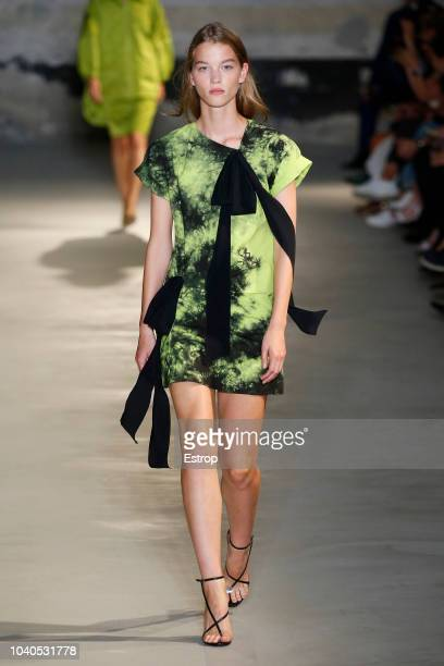 A model walks the runway at the N21 show during Milan Fashion Week Spring/Summer 2019 on September 19 2018 in Milan Italy
