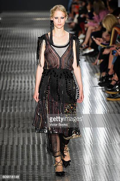 Model walks the runway at the N.21 show during Milan Fashion Week Spring/Summer 2017 on September 21, 2016 in Milan, Italy.