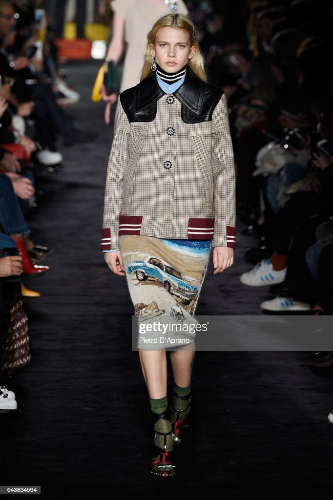 A model walks the runway at the N.21 show during Milan Fashion Week Fall/Winter 2017/18 on February 22, 2017 in Milan, Italy.
