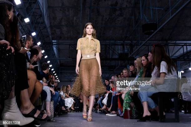 A model walks the runway at the N21 show during Milan Fashion Week Spring/Summer 2018 on September 20 2017 in Milan Italy