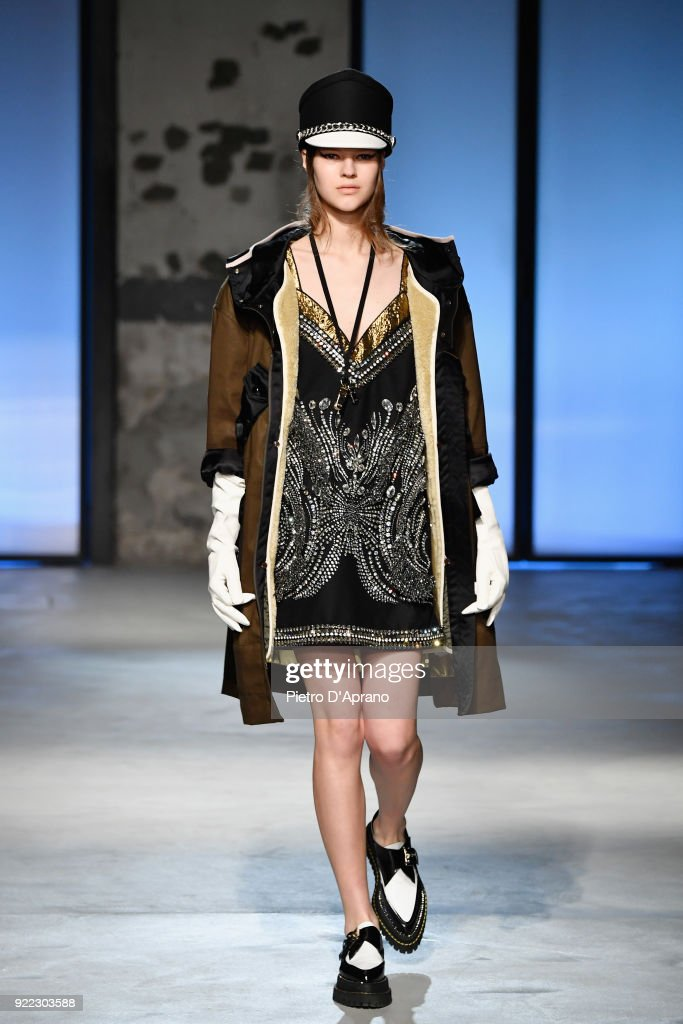 A model walks the runway at the N.21 show during Milan Fashion Week Fall/Winter 2018/19 on February 21, 2018 in Milan, Italy.