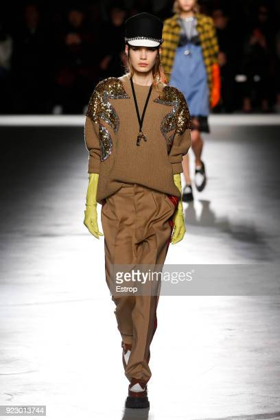 A model walks the runway at the N21 show during Milan Fashion Week Fall/Winter 2018/19 on February 21 2018 in Milan Italy