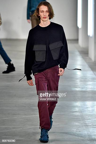 A model walks the runway at the N21 show during Milan Men's Fashion Week Fall/Winter 2016/17 on January 17 2016 in Milan Italy