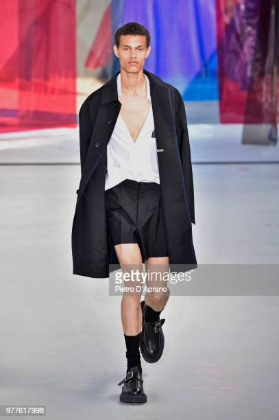 Model walks the runway at the N.21 show during Milan Men's Fashion Week Spring/Summer 2019 on June 18, 2018 in Milan, Italy.