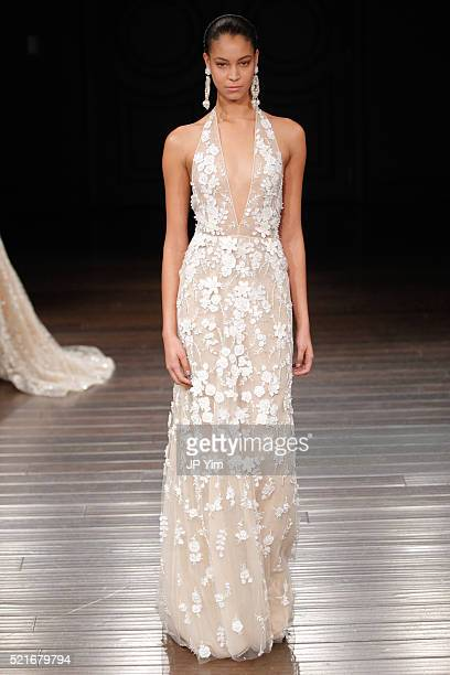 A model walks the runway at the Naeem Khan Spring/Summer 2017 Bridal Collection on April 16 2016 in New York City