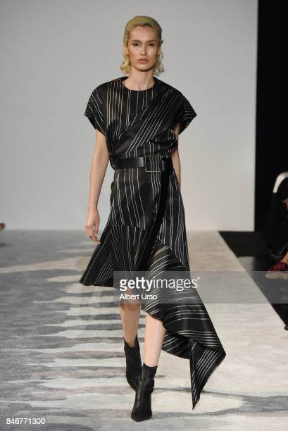 A model walks the runway at the Naersi fashion show during New York Fashion Week at the American Museum of Natural History on September 10 2017 in...