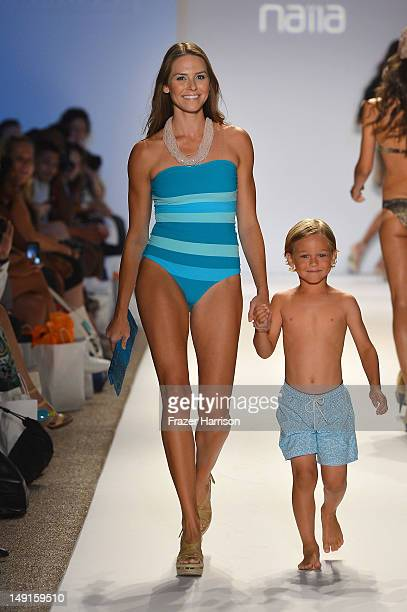 A model walks the runway at the Naila show during MercedesBenz Fashion Week Swim 2013 at The Raleigh on July 23 2012 in Miami Beach Florida