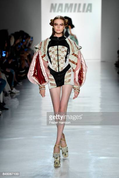 A model walks the runway at the Namilia fashion show during New York Fashion Week The Shows at Gallery 3 Skylight Clarkson Sq on September 9 2017 in...