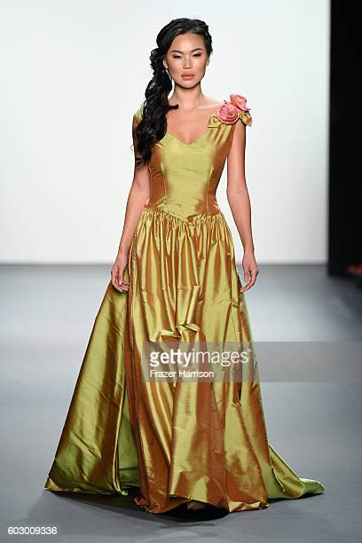 Model walks the runway at the Nancy Vuu fashion show during New York Fashion Week: The Shows at The Dock, Skylight at Moynihan Station on September...