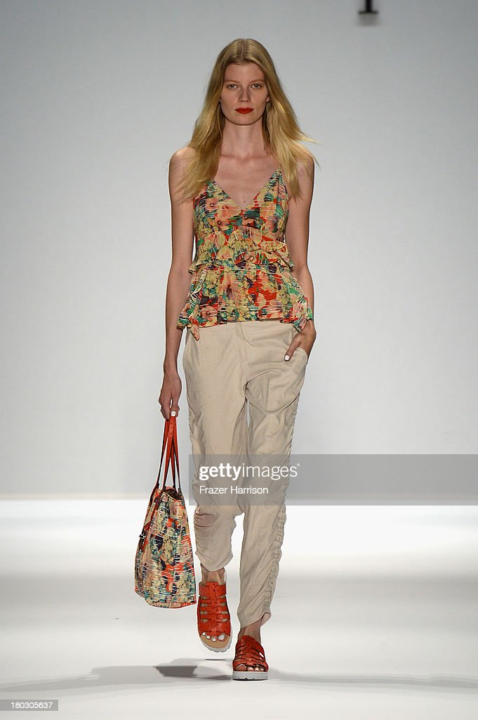 A model walks the runway at the Nanette Lepore fashion show with TRESemme during Mercedes-Benz Fashion Week Spring 2014 at The Stage at Lincoln Center on September 11, 2013 in New York City.